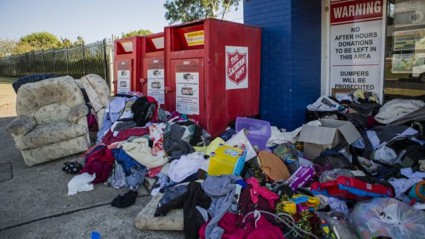 Dumping outside charity bins like at the The Salvation Army at Fyshwick continues to be a problem.