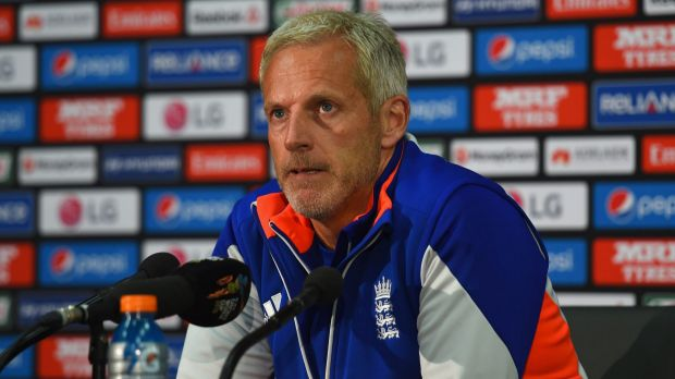 England coach Peter Moores talks to the media during a press conference after the match.