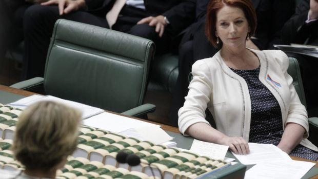 Former prime minister Julia Gillard is questioned by then deputy opposition leader Julie Bishop during question time in 2012.