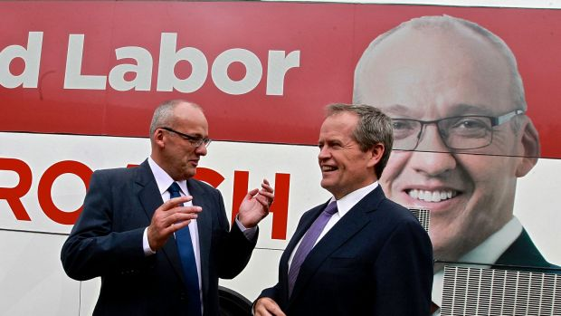 NSW Labor leader Luke Foley and federal Opposition Leader Bill Shorten on the campaign trail in Sydney on Tuesday.