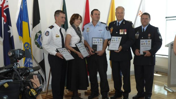 Five recipients of the ACT Community Protection Medal, from left, Toby Keene, ACT Ambulance Service, Pauline Wassall, ...