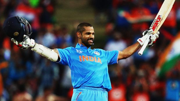 Indian opener Shikhar Dhawan celebrates after scoring his second century in the tournament.