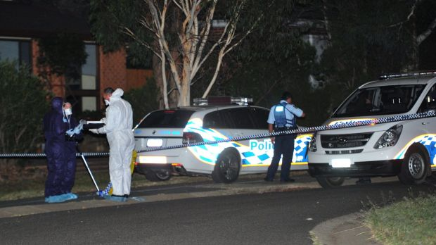 Police cordoned off the area near the McWhae Circuit home in  Wanniassa.