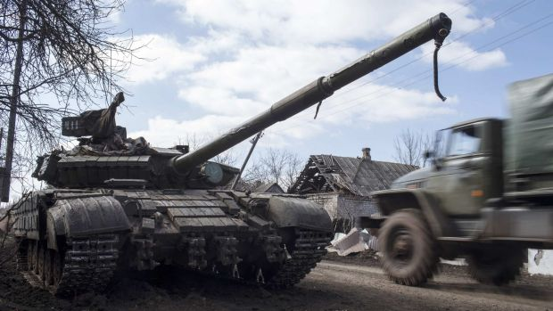 A pro-Russian rebel tank in the village of Molochnoye, north-east of Donetsk.