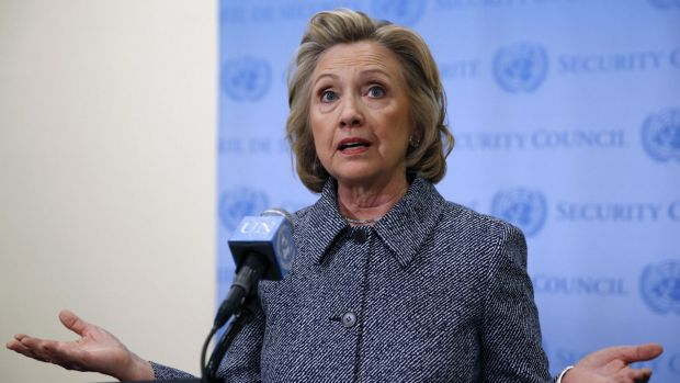 Former US Secretary of State Hillary Clinton speaks during a news conference at the United Nations headquarters in New ...