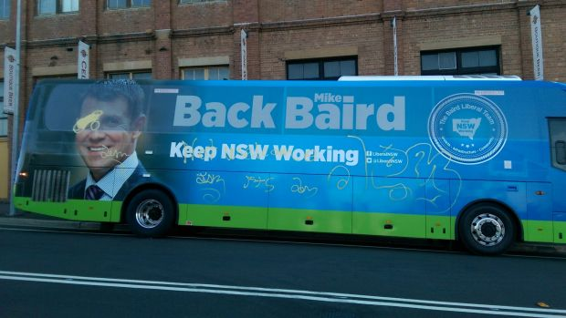 Tagged: Premier Mike Baird's bus has been vandalised in the Blue Mountains.