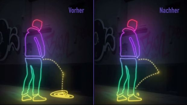 A graphic depiction of how the special hydrophobe paint should deter people from urinating in public places.