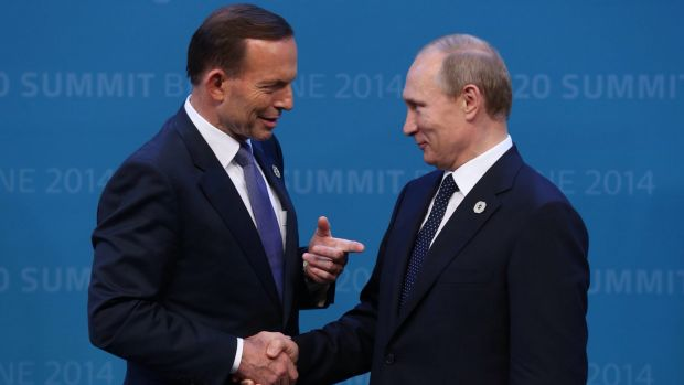 Tony Abbott welcomes Vladimir Putin to the G20 in Brisbane in September last year after threatening to shirt-front the ...