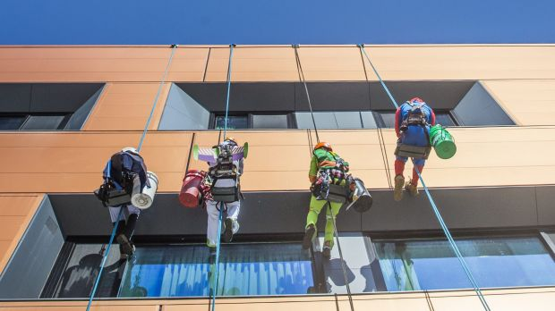 Rope Access Engineering employees dress up to entertain the children at Canberra Hospital.