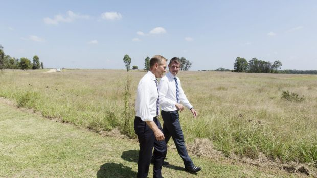 Premier Mike Baird and Environment Minister Rob Stokes announce a new parkland in Western Sydney called Bungarribee ...