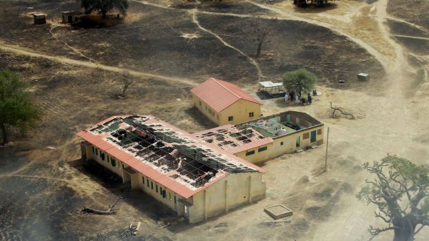 An arial view of the burnt-out classrooms of a school in Chibok, in Northeastern Nigeria, from where Boko Haram Islamist ...