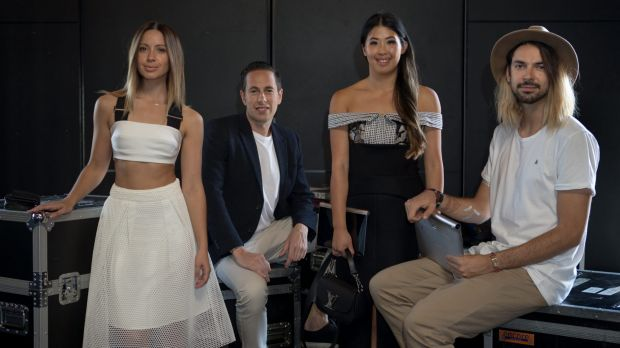 Fashion-focused bloggers: Jasmin Howell (left), Lisa Teh and Thom Whilton (right) with festival chief executive Graeme ...