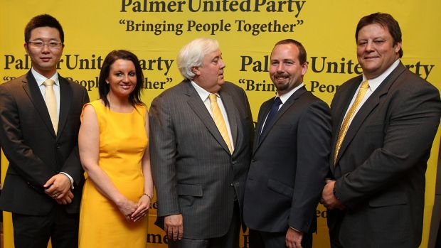 "The Palmer United Party voting bloc in October 2013: Zhenya ""Dio"" Wang, Jacqui Lambie, Ricky Muir and Glenn Lazarus with ..."