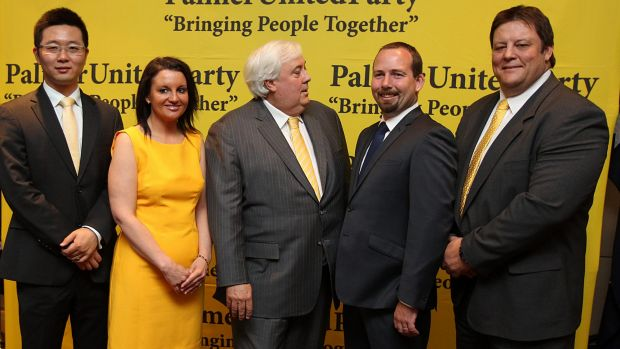 Happier times: Clive Palmer with Ricky Muir and senators from his party who were elected in 2013.