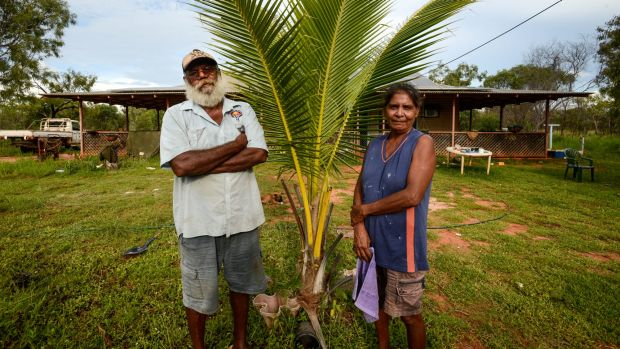 Keith and Lillian Lawford in front of their home on Budgarjuk outstation on the Dampier Peninsula, one of the ...