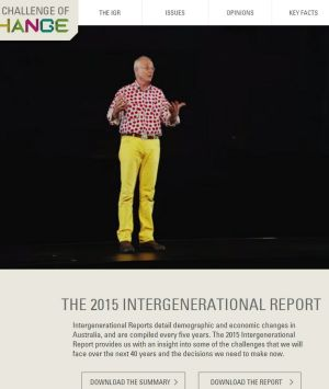 Dr Karl spruiking the Intergenerational Report.