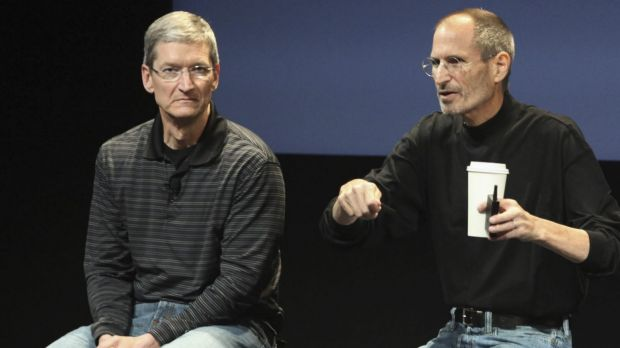 Apple CEO Tim Cook, left, with the late Apple co-founder Steve Jobs.