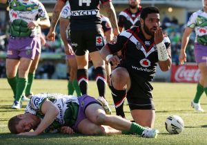Konrad Hurrell of the Warriors celebrates after scoring a try during the 54-18 win over Canberra last year.