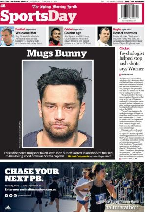 Mugs bunny: Sutton's mugshot on the <i>Herald's</i> SportsDay cover in February.