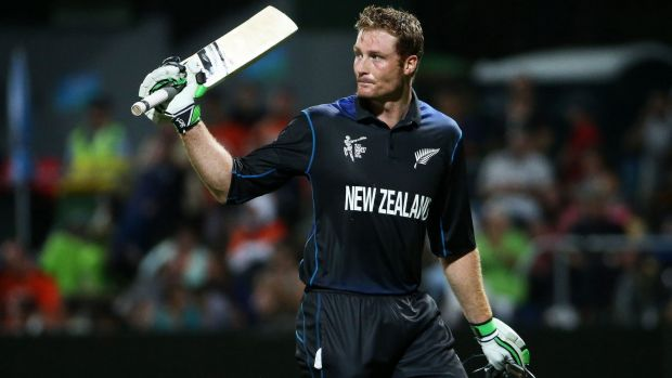 Martin Guptill leaves the field after being dismissed for 105.