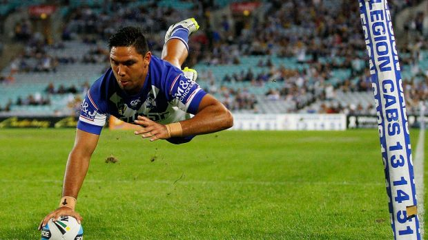 Flying high: Bulldogs winger Curtis Rona sits on top of the NRL try-scorers list.