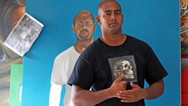 An auction featuring art painted by Myuran Sukumaran has been shut down by Indonesian authorities.