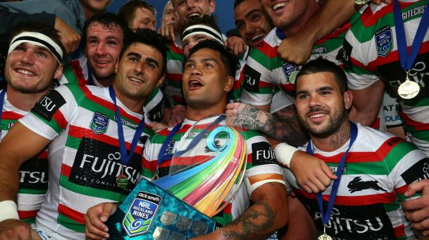 Winning feeling: Luke celebrates with teammates after leading Souths to victory in the Auckland Nines.