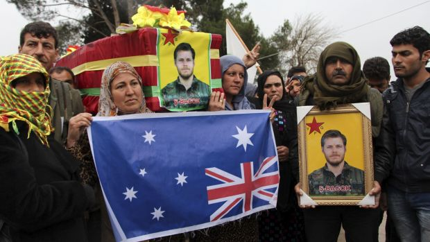 Kurdish fighters held a funeral for Australian Ashley Johnston, who was killed fighting Islamic State militants.