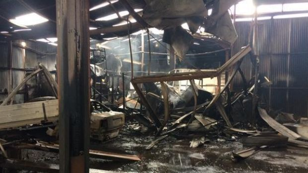 The damage inside Subiaco Automotive Services after the fire.