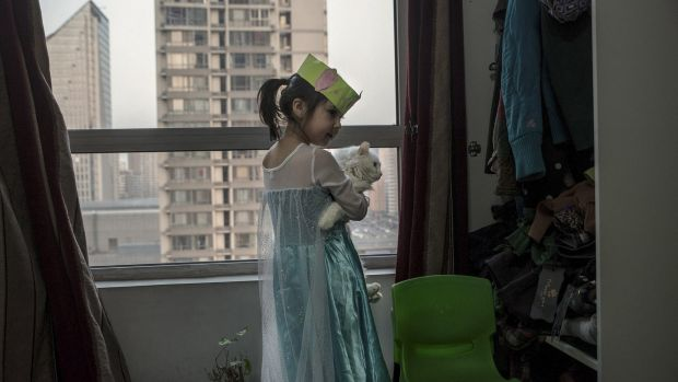 Jessica Cherry, 5, who is in administrative limbo, at her home in Beijing.