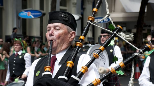 Bagpipe music filled the air during the St Patrick's Day Parade in Brisbane, Australia.