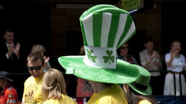 Revellers join the St Patrick's Day Parade in Brisbane.