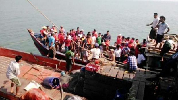 Survivors of a ferry tragedy, which killed at least 33 people in Myanmar on Friday, March 13, are brought to safety.