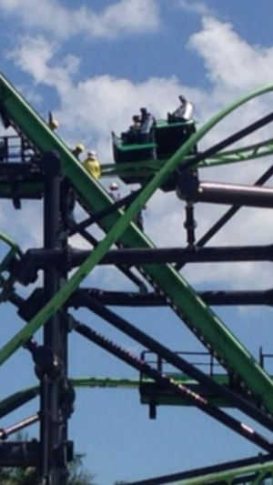 Six people were stranded on the Green Lantern ride for more than three hours on Sunday.