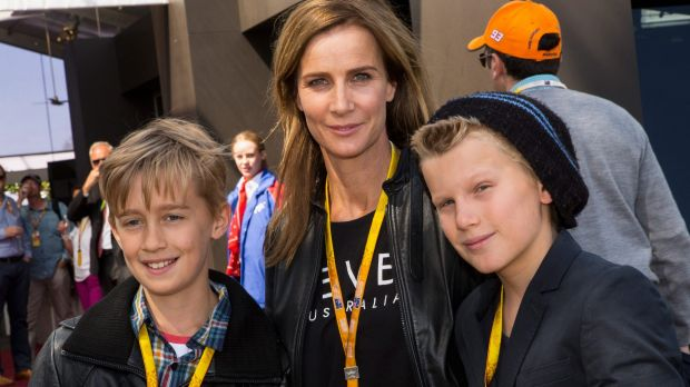 Rachel Griffiths with son Banjo (right) and his friend at the Australian Grand Prix.