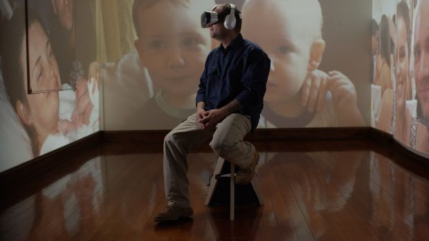 FIFO contract worker Jace Larke watches his son's birth in virtual reality.