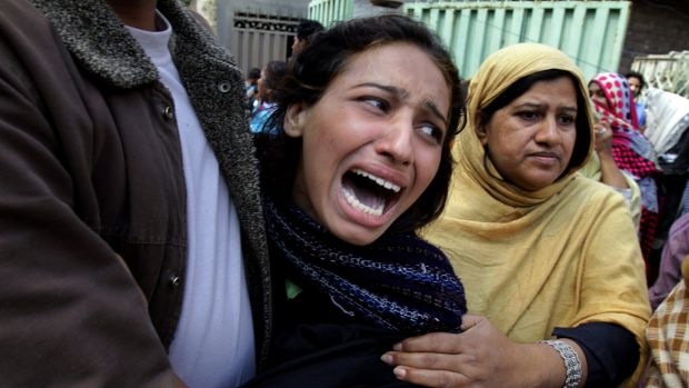 A Pakistani Christian woman grieves for a family member killed in one of the attacks in Lahore.