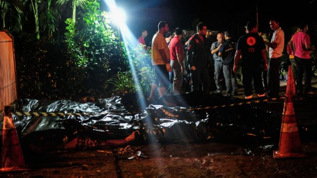 The bodies of victims of the bus accident in Campo Alegre, in the state of Santa Catarina, southern Brazil.