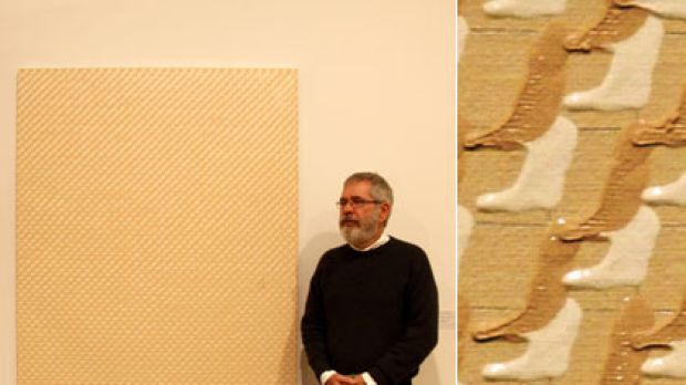 Infinity in the palm of your hand ... left, Leonard Brown with his Blake Prize-winning painting; and right, a detail ...