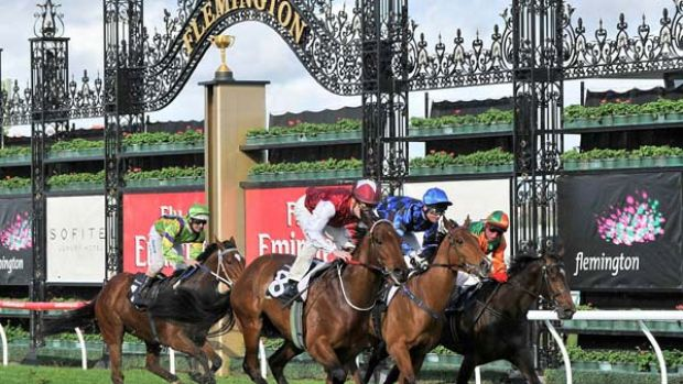 Soul (outside) gets the better of Buffering and General Truce to win the Danehill Stakes.