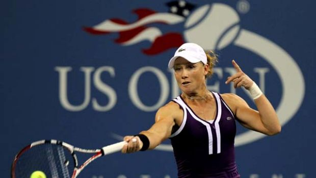 Sam Stosur saved four match points to move through to the quarter-finals of the US Open.