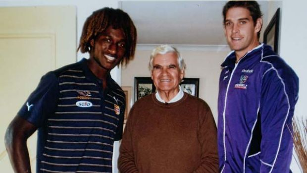 Polly Farmer with West Coast youngster Nic Naitanui and Fremantle ruckman Aaron Sandilands.
