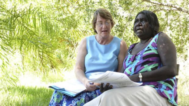 Searching for equivalents ... Marilyn McLellan and a Yolngu consultant,  Joy Bulkanhawuy,  work on the dictionary.