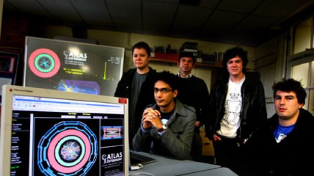 Smashing time ... from left, Ian Watson, Nik Patel, Dr Aldo Saavedra, Mark Scarcella and Cameron Cuthbert, physicists at ...