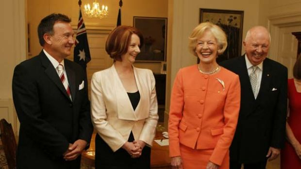 Julia Gillard is sworn in as Prime Minister by Governor-General Quentin Bryce at Government House in Canberra, with her ...