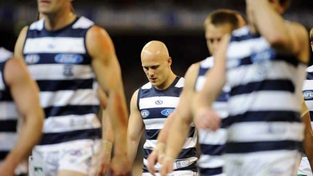 Geelong's Gary Ablett looks dejected after the Cats fell to a rampaging Collingwood at the MCG last night.