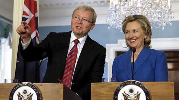 Love in: Kevin Rudd and Hillary Clinton.
