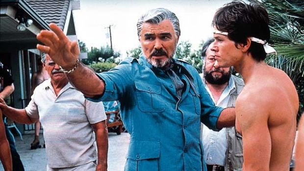 Burt Reynolds and Mark Wahlberg in Boogie Nights.