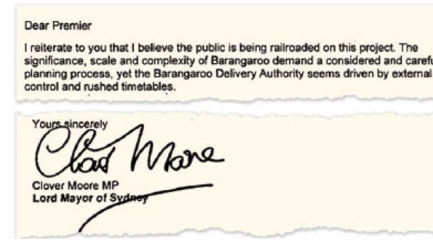 An extract from Clover Moore's letter of resignation.