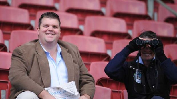 """Racing man ... Nathan Tinkler watches trackwork at Moonee Valley. """"We are delighted to be able to step in and support ..."""